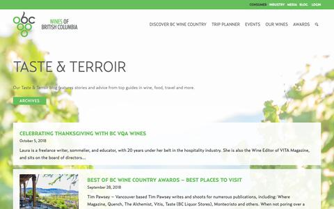 Screenshot of Blog winebc.com - Taste & Terroir   Wines of British Columbia - captured Oct. 6, 2018