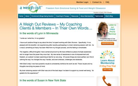 Screenshot of Testimonials Page aweighout.com - A Weigh Out Reviews - My Coaching Clients & Members - In Their Own Words... - A Weigh Out - captured Sept. 30, 2018
