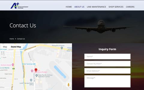 Screenshot of Contact Page aplus.com.ph - AVIATION PARTNERSHIP PHILIPPINES   Contact Us - captured Nov. 13, 2018