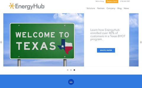 Screenshot of Home Page energyhub.com - EnergyHub Home - captured Feb. 20, 2017