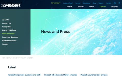 Screenshot of Press Page parasoft.com - News and Press   Parasoft - captured July 4, 2019