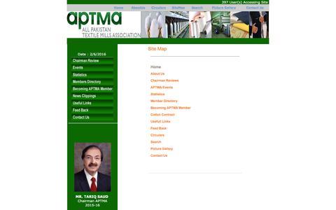 Screenshot of Site Map Page aptma.org.pk - SiteMap - APTMA <<Welcome Pakistan>> - captured Feb. 5, 2016
