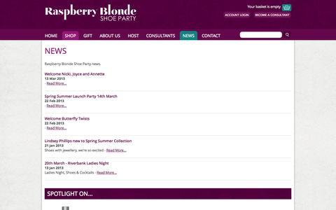 Screenshot of Press Page raspberryblonde.co.uk - News > Raspberry Blonde Home > Raspberry Blonde Shoe Party - captured Nov. 5, 2014