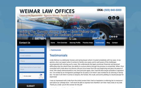 Screenshot of Testimonials Page weimarlaw.com - Testimonials about Attorney Linda Weimar and Weimar Law - captured Nov. 15, 2017