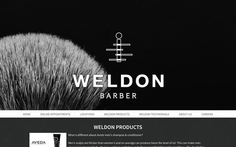 Screenshot of Products Page weldonbarber.com - Weldon Products - captured Jan. 10, 2016