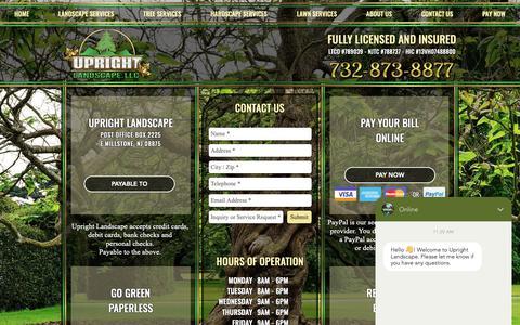 Screenshot of Contact Page uprightnj.com - Upright Landscape | Contact Us | Somerset, NJ - captured Nov. 15, 2018