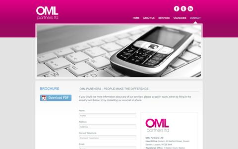 Screenshot of Contact Page omlpartners.co.uk - OML Partners Ltd - contact - captured Oct. 7, 2014