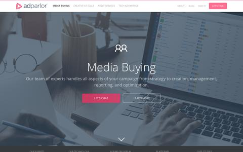 Screenshot of adparlor.com - Media Buying Services for Facebook, Twitter, Instagram, YouTube, Pinterest, Snapchat, and LinkedIn - captured Nov. 28, 2017