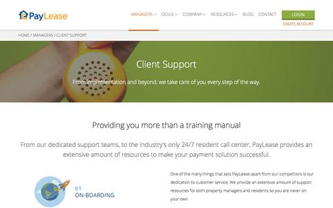 Screenshot of Support Page paylease.com - Client Support | PayLease - captured July 3, 2015