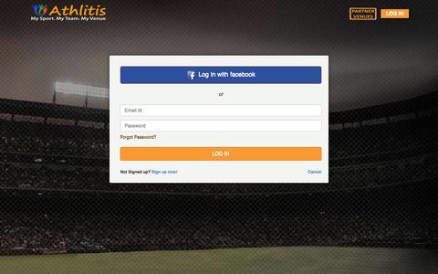 Screenshot of Login Page athlitis.net - ATHLITIS - Book Sports venues, Sports matches, Sports workshops, Sports Tournaments - captured Sept. 30, 2014