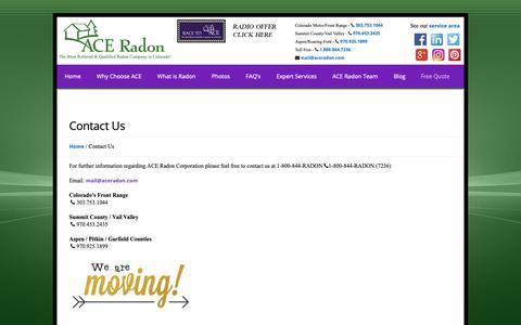 Screenshot of Contact Page aceradon.com - Ace Radon, Radon, Radon Mitigation, radon experts, mitigation systems, Front Range, Colorado Radon, Colorado, Radon Gas, colorless gas, radon professional, radon specialist, radon contractors, building, development, pre-construction, radon test, rado - captured Nov. 12, 2018