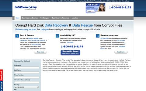 Screenshot of Home Page Locations Page datarecoverycorp.com - Hard Drive Data Recovery Services, Solutions by Experts - captured Oct. 5, 2014