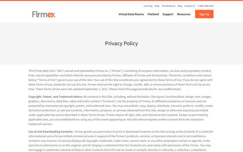 Privacy Policy - Firmex