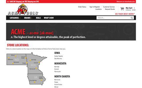 Screenshot of Locations Page acmetools.com - Tool Store Location Near Me | Acme Tools - captured July 28, 2018