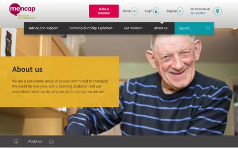 Screenshot of About Page mencap.org.uk - Voice of Learning Disability - About Us | Mencap - captured Aug. 10, 2016
