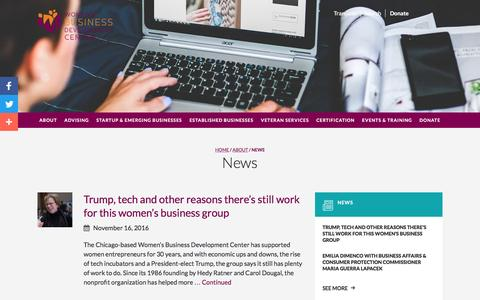 Screenshot of Press Page wbdc.org - News - Women's Business Development Center - captured Dec. 3, 2016