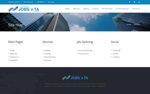"""Screenshot of Site Map Page jobsnta.com - JOBS 'n TA - One of """"South India's"""" Leading HR Services Company - captured July 27, 2018"""