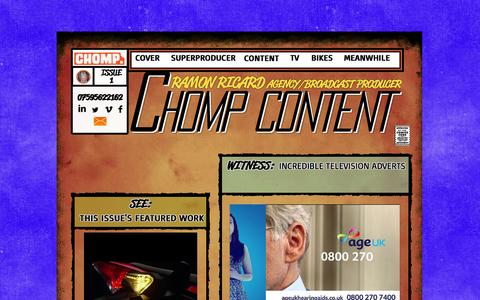 Screenshot of Home Page chompcontent.com - Ramon Ricard Content Producer - captured Oct. 2, 2014