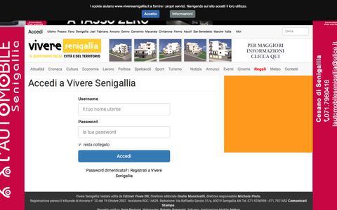 Screenshot of Login Page viveresenigallia.it - Accedi a Vivere Senigallia • Vivere Senigallia notizie per la città e il territorio - captured July 17, 2017