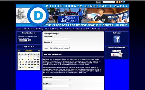 Screenshot of Login Page mcleancountydemocrats.org - McLean County Democratic Party - captured June 25, 2016