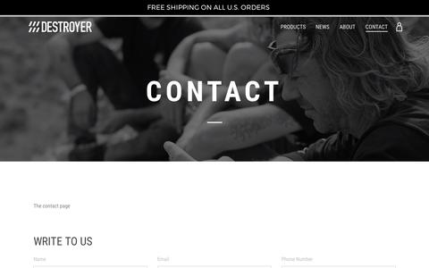 Screenshot of Contact Page destroyerequipment.com - CONTACT – destroyerequipment - captured June 4, 2017