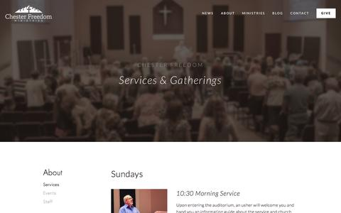 Screenshot of Services Page chesterfreedom.com - Services — Chester Freedom Ministries - captured March 1, 2016