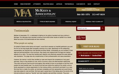 Screenshot of Testimonials Page mckeenassociates.com - Client Testimonials | McKeen & Associates, P.C. Detroit Michigan - captured Oct. 27, 2014