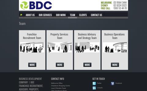 Screenshot of Team Page bdcaus.com - Team     Business Development Company   BDC Franchise Recruitment, Advisory, Property, Operations Consultants - captured Oct. 26, 2014