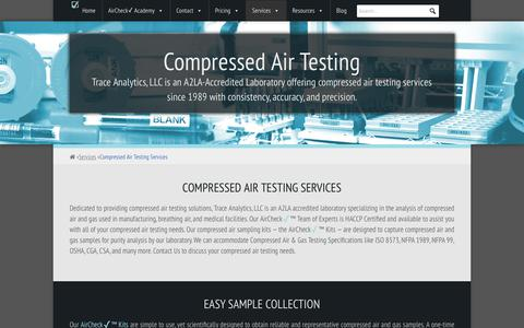 Screenshot of Services Page airchecklab.com - Compressed Air Testing Services - Compressed Air Testing - Trace Analytics - captured Sept. 28, 2018
