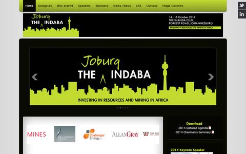 """Screenshot of Home Page joburgindaba.com - The 2014 Joburg Indaba on """"Investing in Resourcing and Mining in Africa - captured Jan. 29, 2015"""