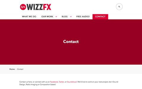 Screenshot of Contact Page wizzfx.com - Contact   wizzFX - captured Feb. 15, 2016