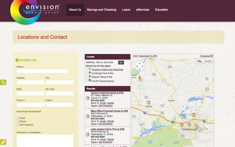 Screenshot of Contact Page Locations Page envisioncu.com - Locations and Contact - Envision Credit Union - captured Oct. 22, 2014