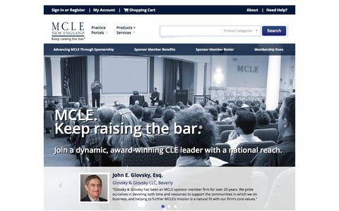 Screenshot of Signup Page mcle.org - MCLE | New England: CLE Programs, Webcasts and Publications - captured Jan. 20, 2016