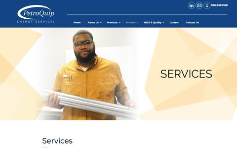 Screenshot of Services Page petroquip.com - Services - PetroQuip Energy Services - Well CompletionsPetroQuip Energy Services - captured Sept. 27, 2018