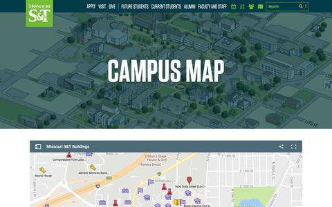 Screenshot of Maps & Directions Page mst.edu - Missouri S&T -  Campus Map - captured Nov. 29, 2016
