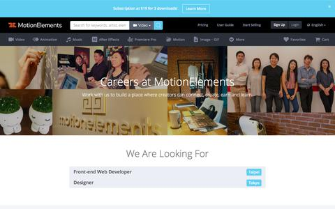 Screenshot of Jobs Page motionelements.com - Careers at MotionElements - captured Sept. 22, 2018