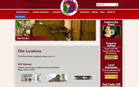 Screenshot of Locations Page cedarhilledc.com - Cedar Hill Economic Development Corporation - Film Locations - captured Oct. 2, 2014