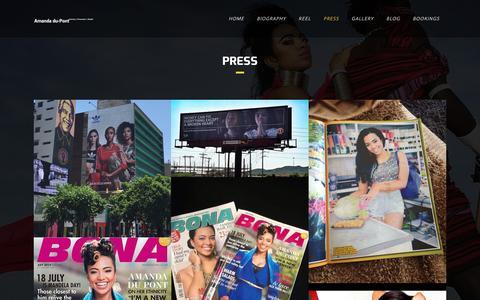 Screenshot of Press Page amanda-dupont.com - Press - Amanda Du Pont - captured July 23, 2016