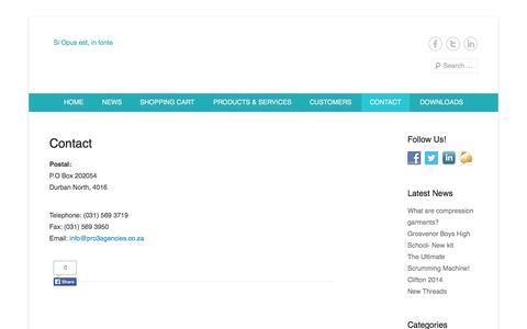 Screenshot of Contact Page pro3agencies.co.za - Contact | www.pro3agencies.co.za - captured Sept. 30, 2014