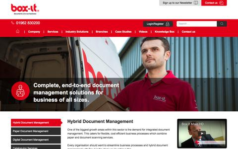 Screenshot of Services Page boxit.co.uk - Hybrid Document Management - Box-it - captured June 2, 2017