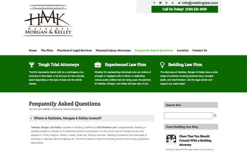 Screenshot of FAQ Page reddinglaw.com - Frequently Asked Questions   Redding, CA   Law & Attorneys - captured Oct. 2, 2014