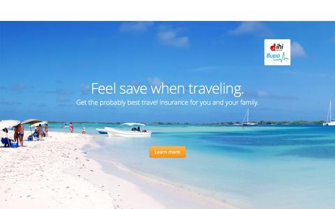 Screenshot of Home Page travel-insure.net - travel-insure.net - Travel Insurance worldwide by ihi Bupa - the probably best travel insurance possible - captured Sept. 4, 2015