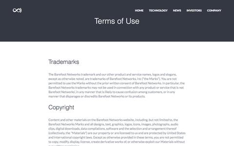 Screenshot of Terms Page barefootnetworks.com - Barefoot - captured July 3, 2016
