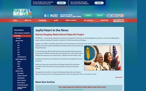 Screenshot of Press Page joyfulheartfoundation.org - Joyful Heart in the News | Joyful Heart Foundation - captured Sept. 19, 2014