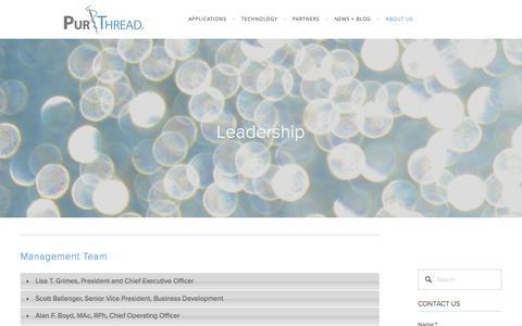 Screenshot of Team Page purthread.com - Leadership — PurThread - captured Nov. 15, 2016