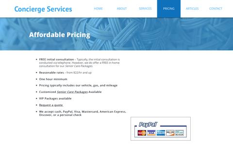 Screenshot of Pricing Page mypersonalconcierge.org - PRICING - captured Dec. 2, 2016