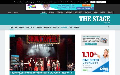 Screenshot of Home Page thestage.co.uk - Theatre news, reviews, interviews and jobs | The Stage - captured Oct. 1, 2015
