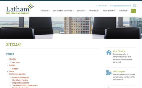 Screenshot of Site Map Page lathambiopharm.com - Sitemap - Latham BioPharm Group - captured Sept. 27, 2018