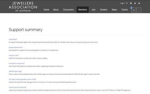 Screenshot of Support Page jaa.com.au - Jewellers Association of Australia - Support summary - captured Dec. 3, 2017