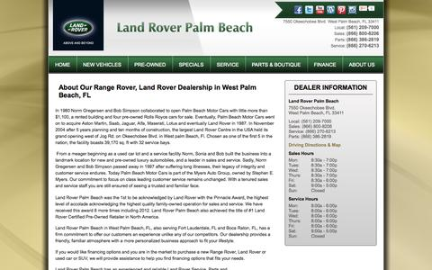Screenshot of About Page landroverpalmbeach.com - Range Rover, Land Rover West Palm Beach, FL | About Us - captured Sept. 29, 2014